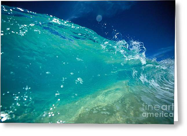 Vince Greeting Cards - Turquoise Breaking Wave Greeting Card by Vince Cavataio - Printscapes