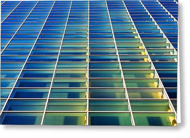 Turquoise Building Greeting Card by Todd Klassy