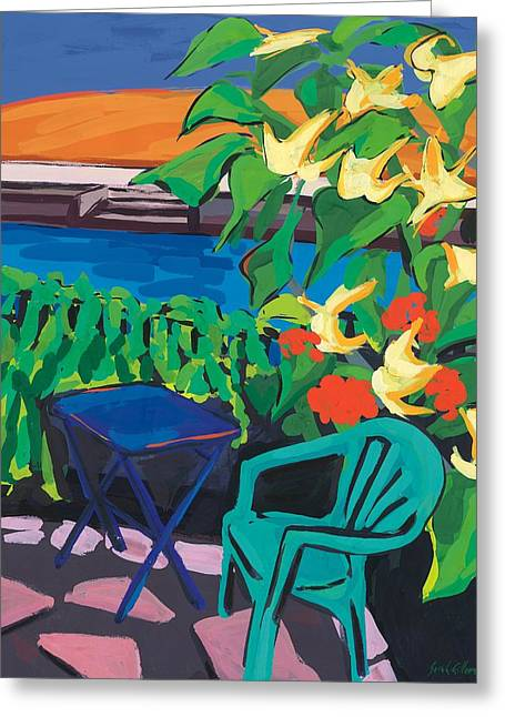 Patio Greeting Cards - Turquoise Chair and Geranium Greeting Card by Sarah Gillard