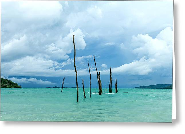 Wooden Fish Greeting Cards - Turquoise Dream Greeting Card by Stylianos Kleanthous