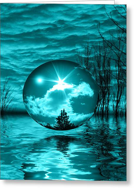 Blue Green Wave Mixed Media Greeting Cards - Turquoise Dreams Greeting Card by Shane Bechler