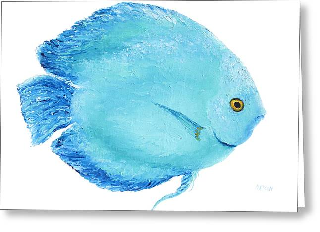 Bathroom Prints Paintings Greeting Cards - Turquoise Fish painting Greeting Card by Jan Matson