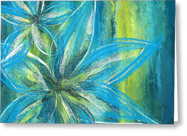 Turquoise Florals Greeting Card by Lourry Legarde