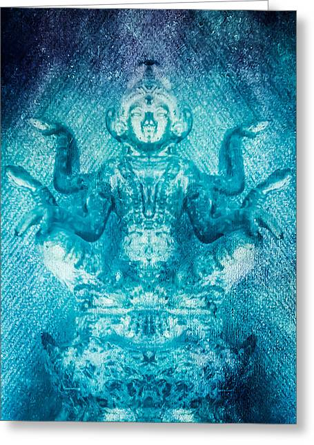 Hindu Goddess Greeting Cards - Turquoise Goddess Greeting Card by Heather Joyce Morrill