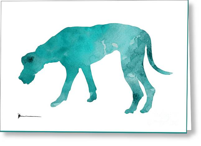Turquoise Great Dane Watercolor Art Print Paitning Greeting Card by Joanna Szmerdt