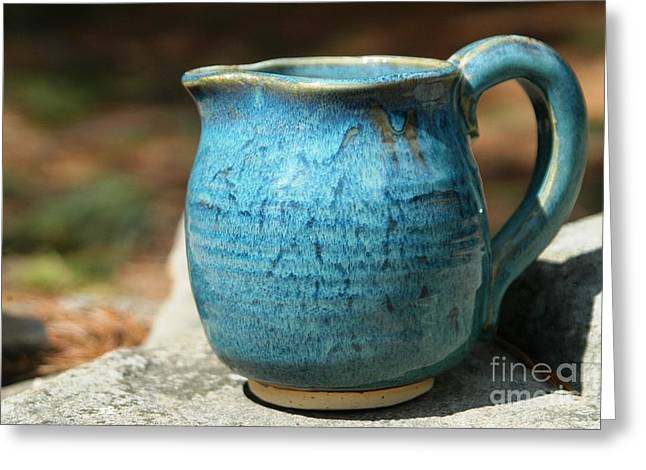 Unique Ceramics Greeting Cards - Turquoise Handmade Pitcher Greeting Card by Amie Turrill Owens
