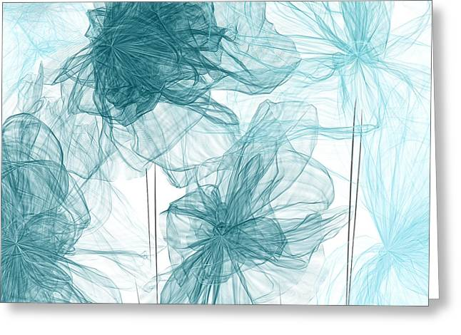 Light Blue Gray Greeting Cards - Turquoise In Sync Greeting Card by Lourry Legarde