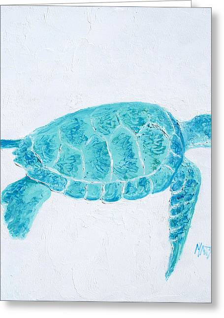Ocean Turtle Paintings Greeting Cards - Turquoise marine turtle Greeting Card by Jan Matson