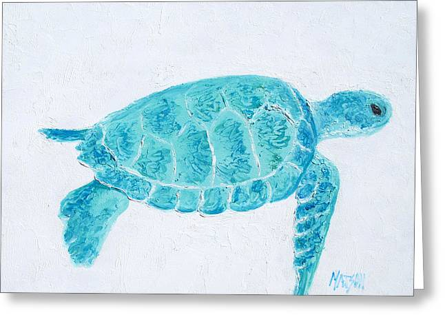Turquoise Marine Turtle Greeting Card by Jan Matson
