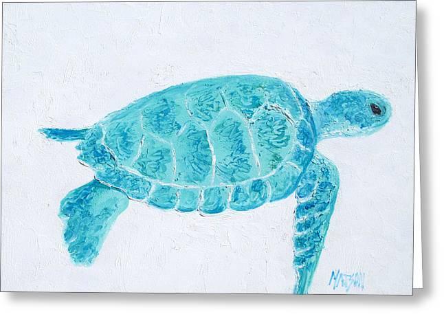 Cushion Greeting Cards - Turquoise marine turtle Greeting Card by Jan Matson