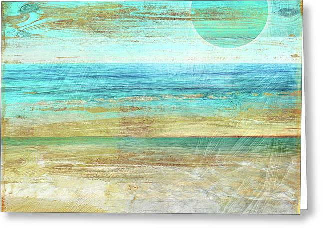 Turquoise Moon Day Greeting Card by Mindy Sommers