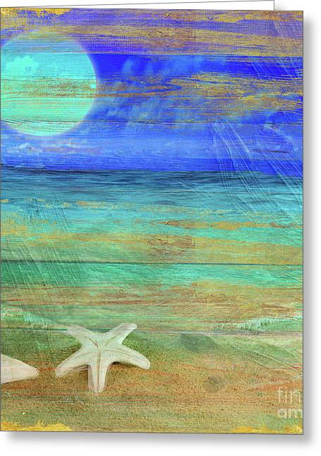 Turquoise Moon Greeting Card by Mindy Sommers