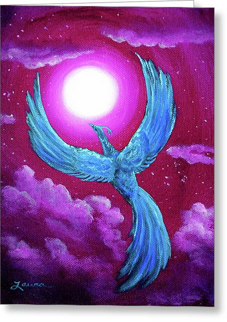 Violet Blue Greeting Cards - Turquoise Moon Phoenix Greeting Card by Laura Iverson