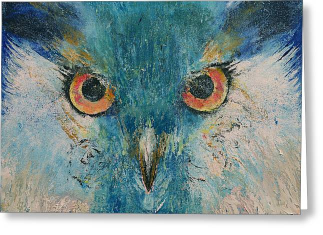 Turquoise Owl Greeting Card by Michael Creese