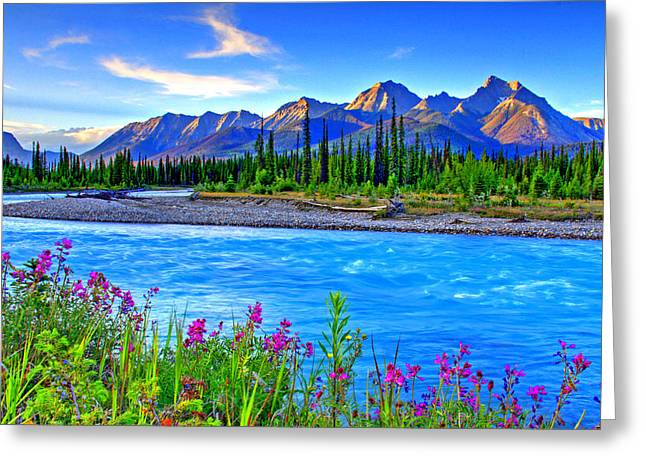 Turquoise River Greeting Card by Scott Mahon