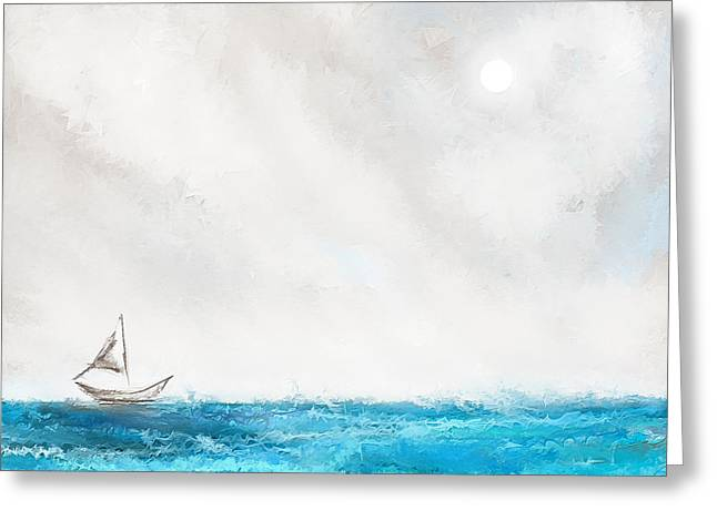 Sailing Boat Greeting Cards - Turquoise Sailing - Moonlight Sailing Greeting Card by Lourry Legarde