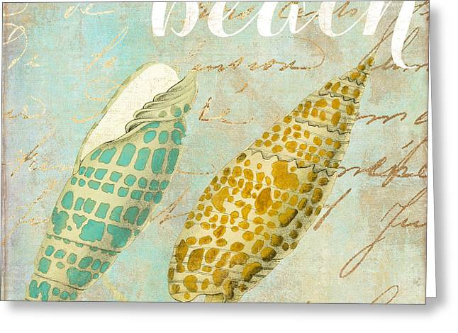 Spiral Seashells Greeting Cards - Turquoise Sea Shells Greeting Card by Mindy Sommers