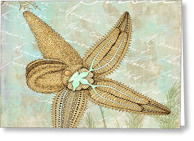 Spiral Seashells Greeting Cards - Turquoise Sea Starfish Greeting Card by Mindy Sommers