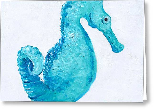 Turquoise Seahorse Greeting Card by Jan Matson