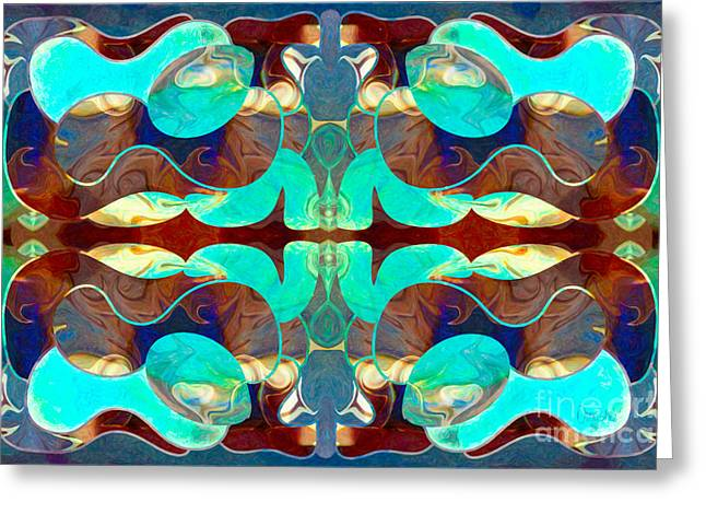 Abstract Digital Drawings Greeting Cards - Turquoise Transitions Abstract Macro Transformations by Omashte Greeting Card by Omaste Witkowski