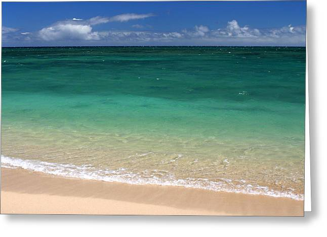 Blue Green Wave Greeting Cards - Turquoise water of Kanaha beach Maui Hawaii Greeting Card by Pierre Leclerc Photography