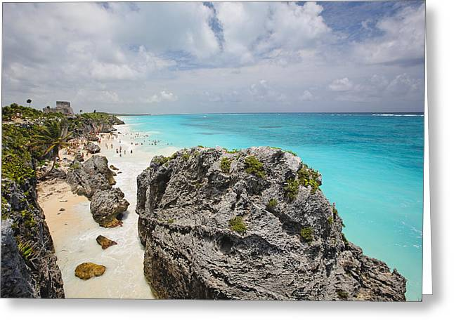 On The Beach Greeting Cards - Turquoise Waters of Tulum  Greeting Card by George Oze