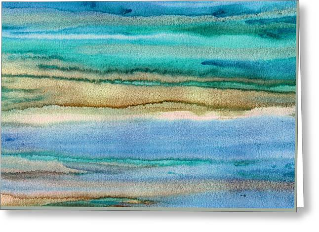 Beige Abstract Greeting Cards - Turquoise Waves Abstract Greeting Card by Marti Gamba