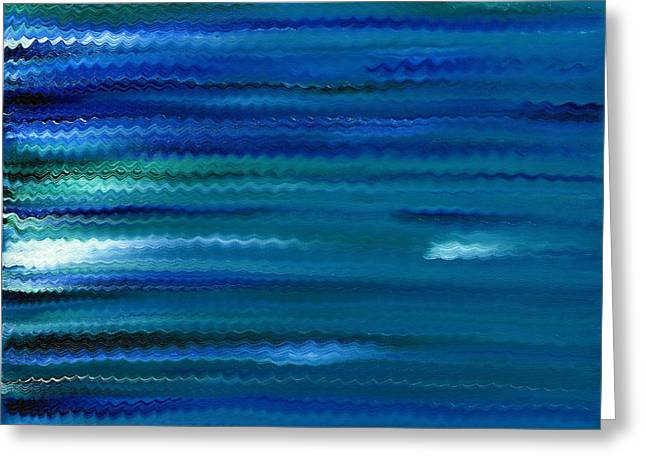 Phthalo Blue Greeting Cards - Turquoise Waves Greeting Card by Hakon Soreide