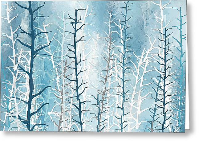 Dark Navy Blue Greeting Cards - Turquoise Winter Greeting Card by Lourry Legarde