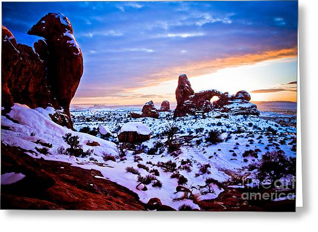 Arches National Park Digital Greeting Cards - Turret Arch Red IV Greeting Card by Irene Abdou