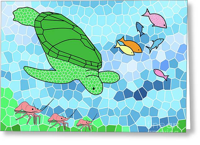 Sea Life Posters Greeting Cards - Turtle and Friends Greeting Card by Methune Hively