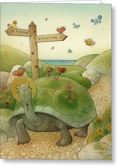 Blue Flowers Drawings Greeting Cards - Turtle and Rabbit01 Greeting Card by Kestutis Kasparavicius