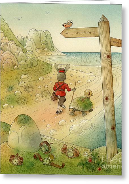 Rocks Drawings Greeting Cards - Turtle and Rabbit07 Greeting Card by Kestutis Kasparavicius