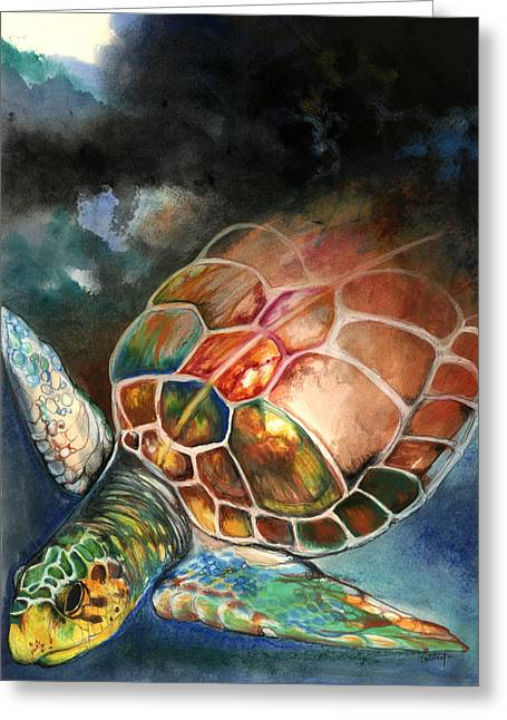 African-american Mixed Media Greeting Cards - Turtle Greeting Card by Anthony Burks Sr
