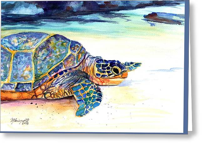 Marionettes Greeting Cards - Turtle at Poipu Beach 2 Greeting Card by Marionette Taboniar
