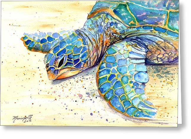 Interior Watercolour Greeting Cards - Turtle at Poipu Beach 4 Greeting Card by Marionette Taboniar
