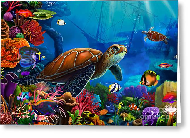 Scuba Diving Greeting Cards - Turtle Domain Greeting Card by Gerald Newton
