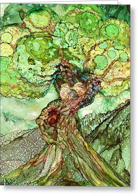 Turtle Dove Tree Greeting Card by Carol Cavalaris