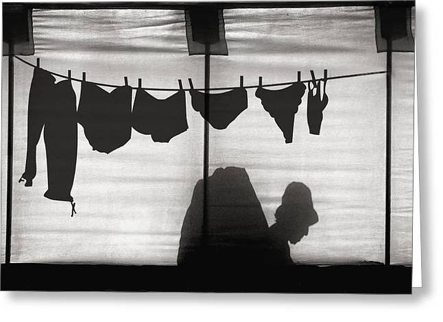 Laundry Greeting Cards - Turtle Lady Sunbathing In Her Backyard Greeting Card by Yvette Depaepe