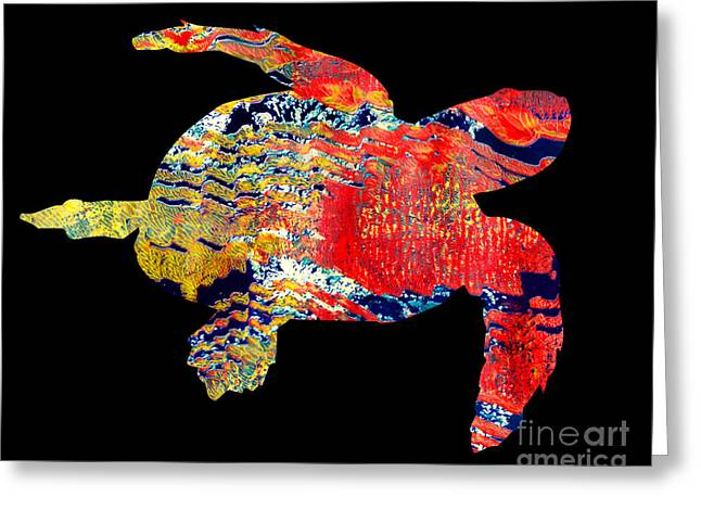 Printmaking Greeting Cards - Turtle Greeting Card by Laura L Leatherwood