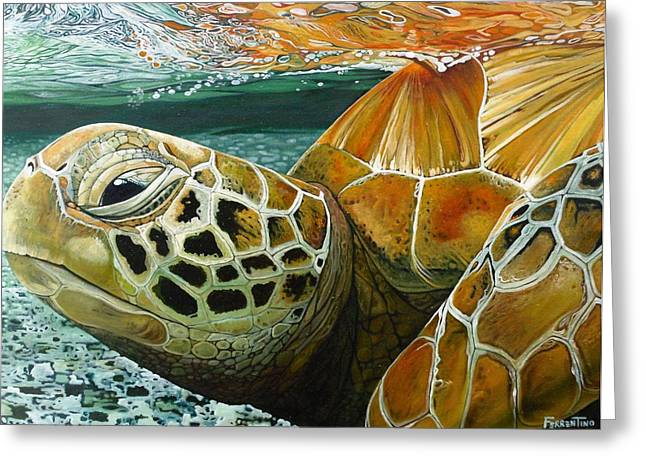 Green Sea Print Greeting Cards - Turtle Me Too Greeting Card by Jon Ferrentino