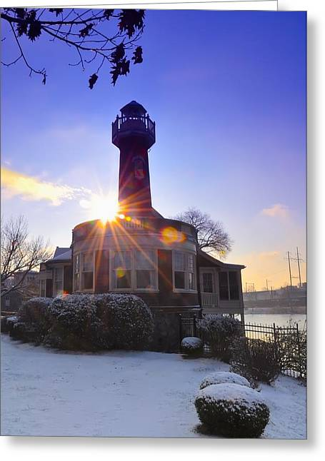 Boat House Row Greeting Cards - Turtle Rock Light House at Sunrise Greeting Card by Bill Cannon