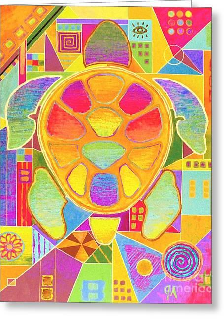Turtle Turtle - Yellow Hue Greeting Card by Jeremy Aiyadurai