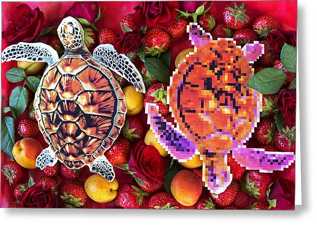 Lions Greeting Cards - Turtles in a fruit salad Greeting Card by Nikolay Devnenski