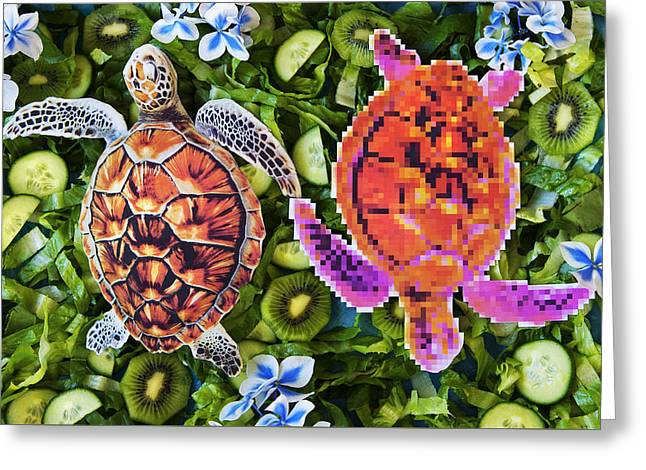 Lions Greeting Cards - Turtles in a green salad Greeting Card by Nikolay Devnenski