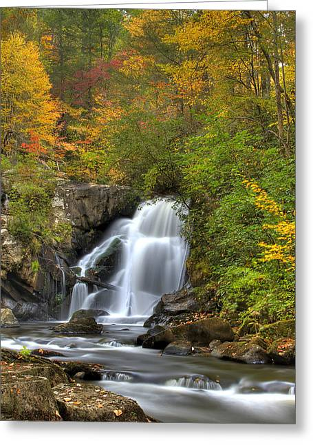 Tennessee River Greeting Cards - Turtletown Creek Falls Greeting Card by Debra and Dave Vanderlaan