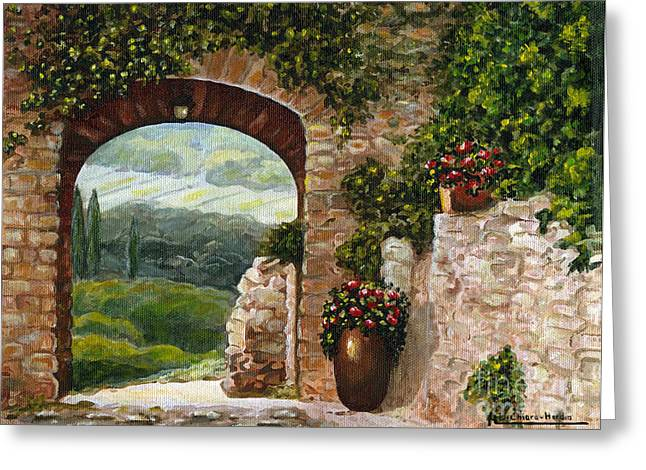 Italian Art Greeting Cards - Tuscan Arch Greeting Card by Italian Art
