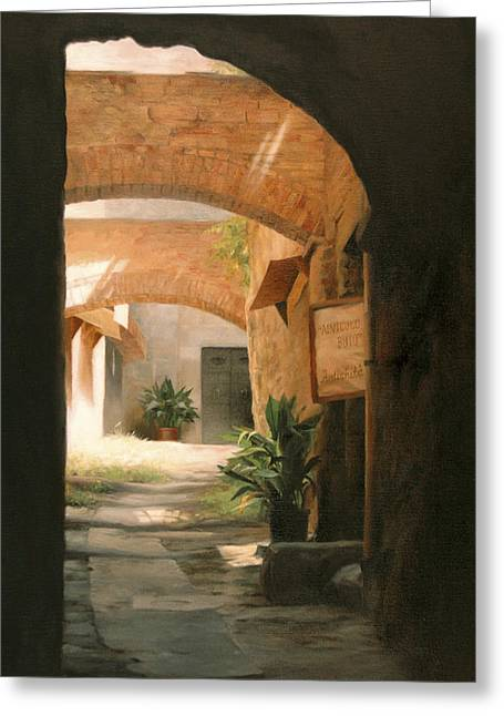 Archway Greeting Cards - Tuscan Arches Greeting Card by Anna Rose Bain