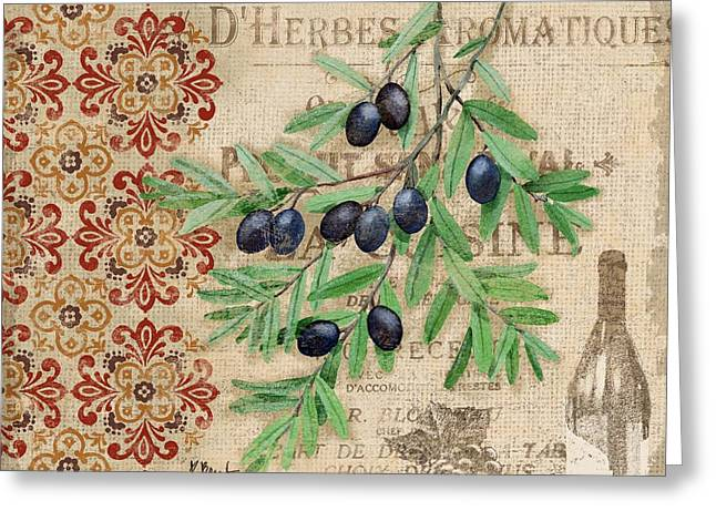 Tuscan Black Olives Greeting Card by Paul Brent