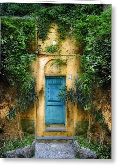 Tuscan Sunset Greeting Cards - Tuscan blue door Greeting Card by Al Hurley